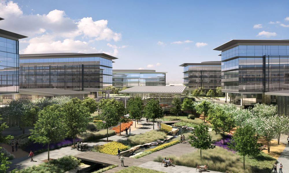 2016 Toyota Plano HQ Campus – View of Courtyard from Lobby Terrace Looking North Rendering