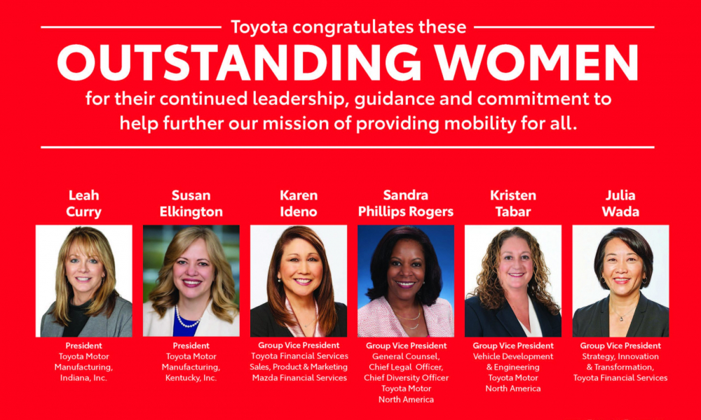 Six Toyota Leaders Recognized Among 100 Leading Women in the North American Auto Industry