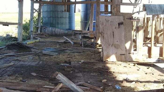 Inside of Barn Before Teardown by Toyota Tacoma