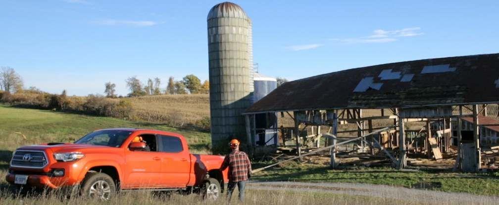 Toyota Tacoma Pulling Down Barn