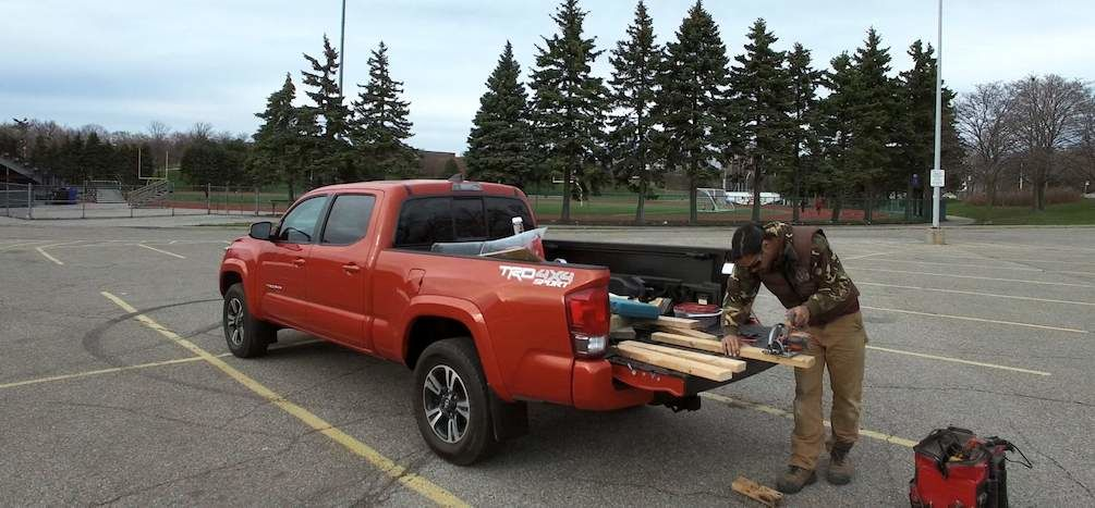 Sebastian Clovis Building Weight Sleds on Toyota Tacoma