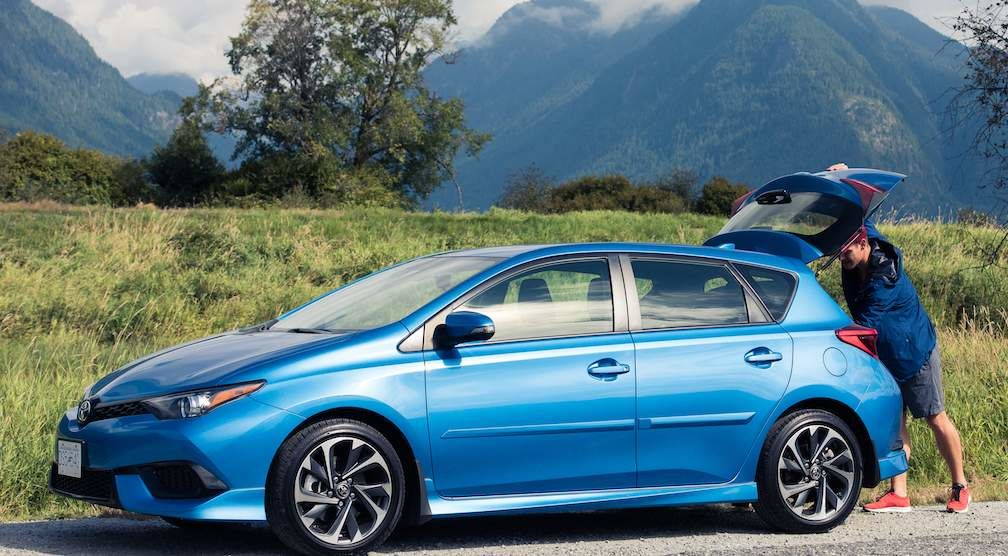 Corolla iM Hatchback in Blue Parked by Roadside