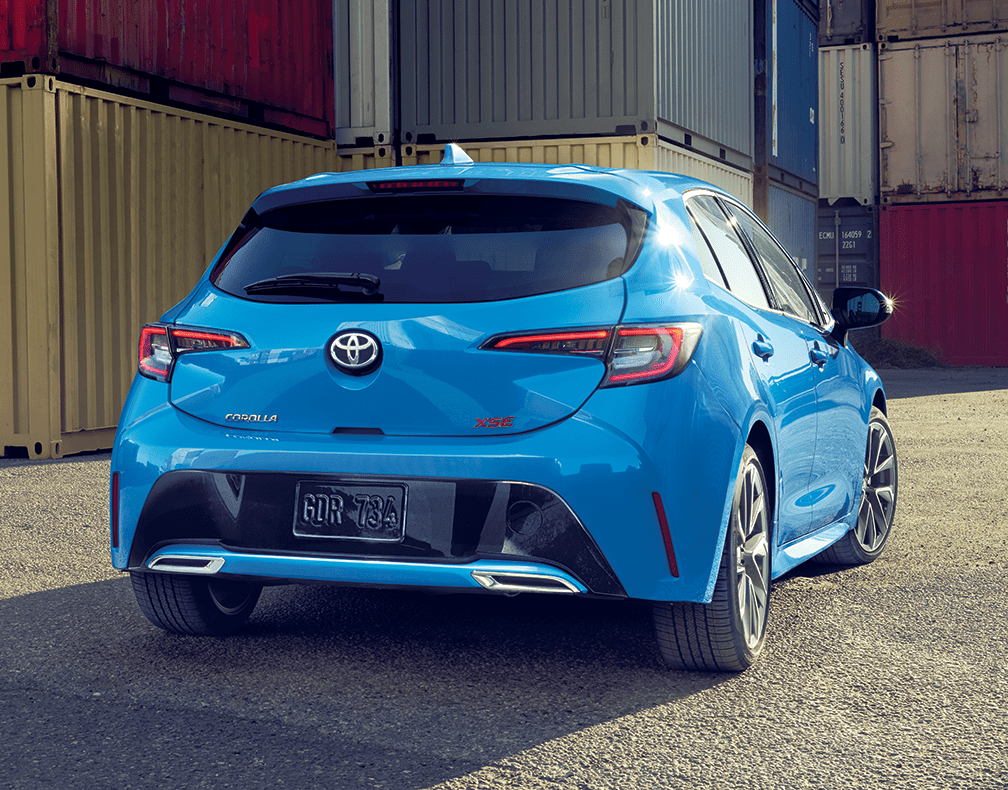 2019 Toyota Corolla Hatchback Rear View in Blue Flame
