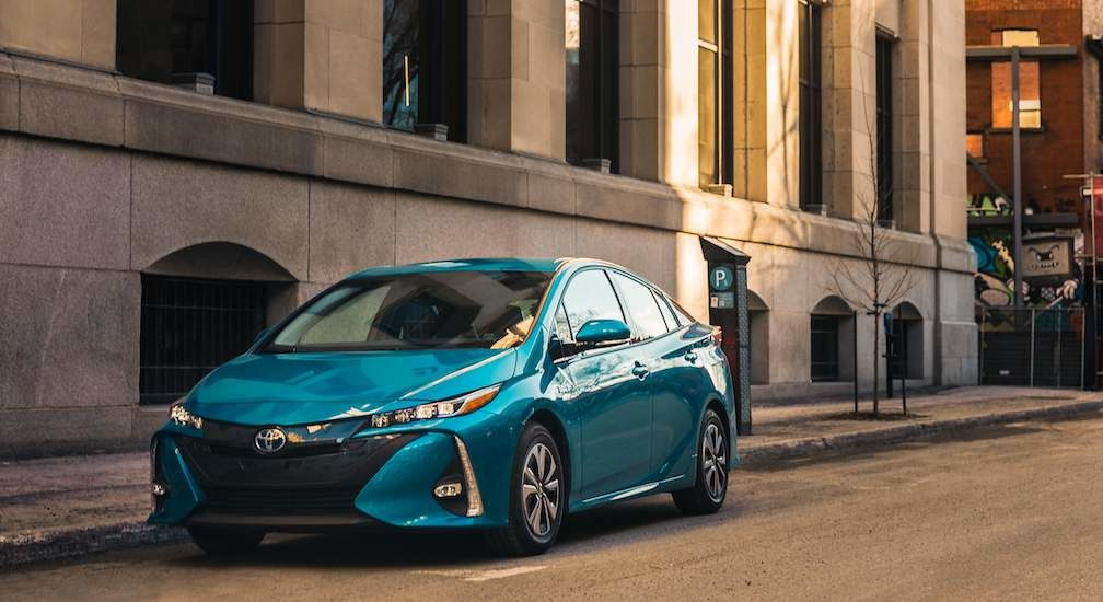 Prius Prime Plug In Hybrid in Blue Magnetism Front View