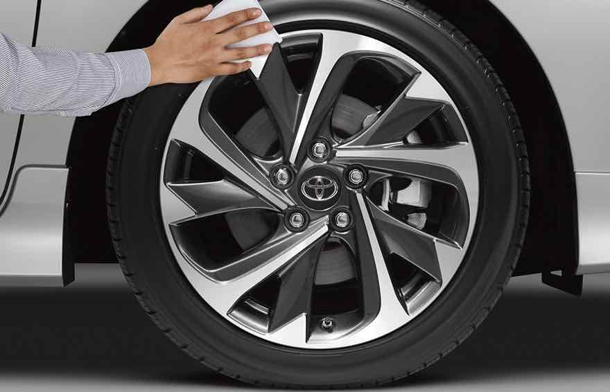 Genuine Toyota Tire Being Detailed