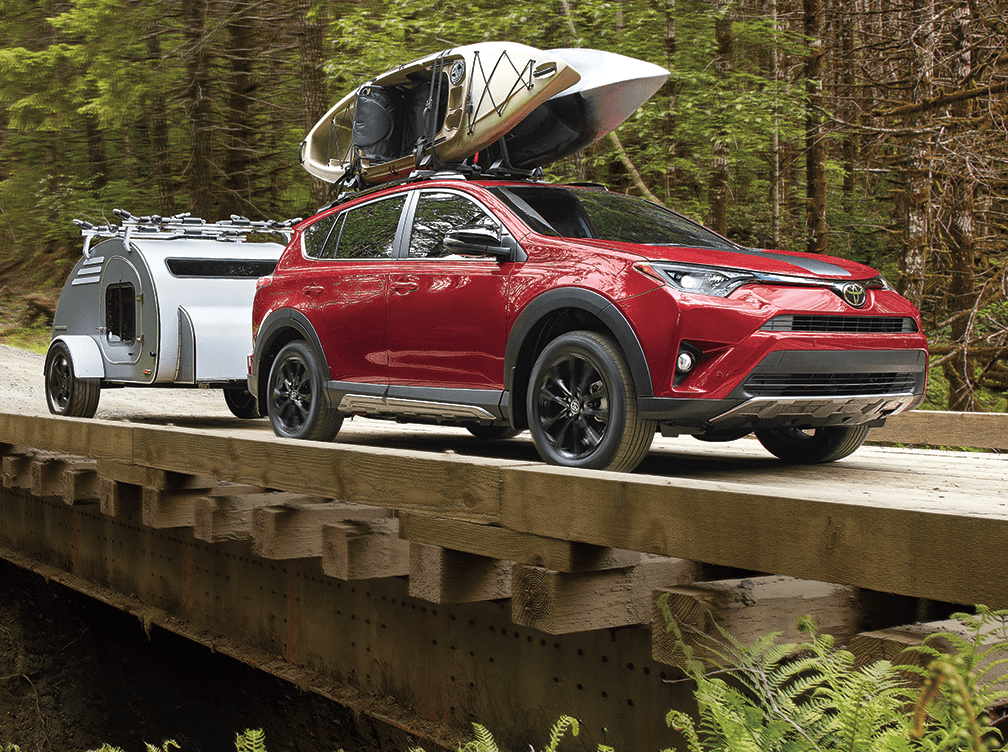 RAV4 with Roof Rack and Towing Hitch