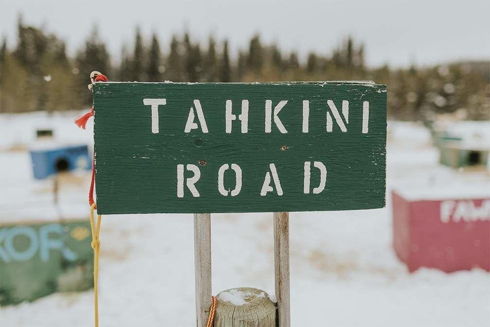 Tahkini road sign
