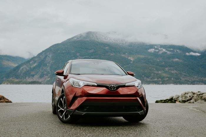 C-HR Parked Near Mountains and Lake