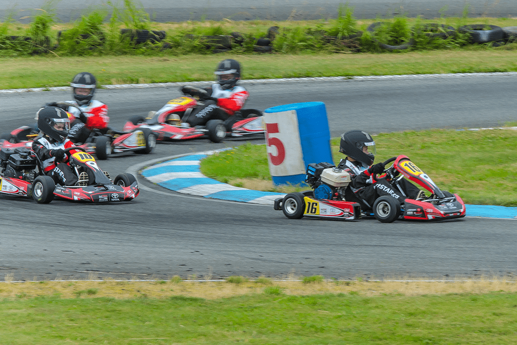 Race karts on the track at kartSTART 2018