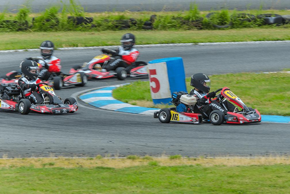 Race karts on the track at kartSTART 2018