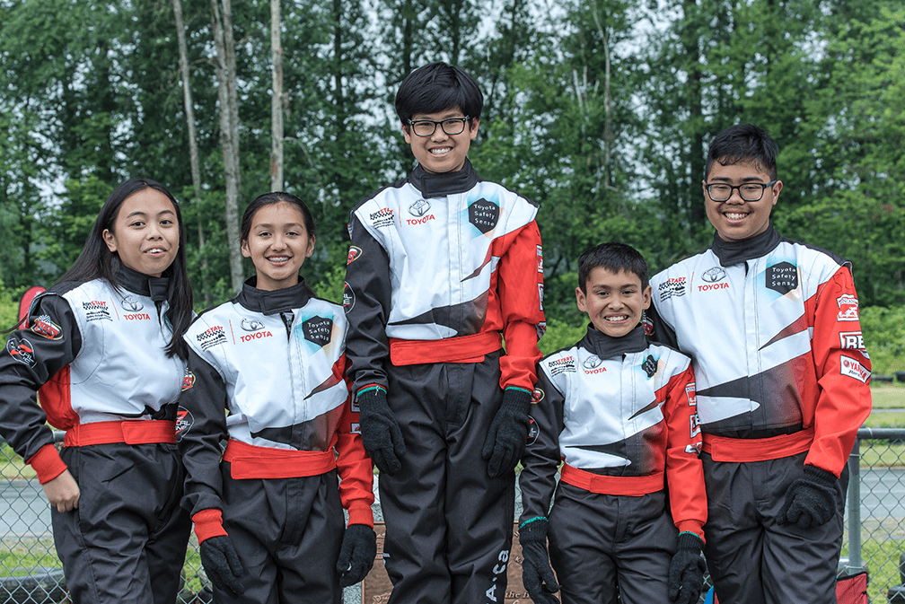 Participants pose at kartSTART 2018