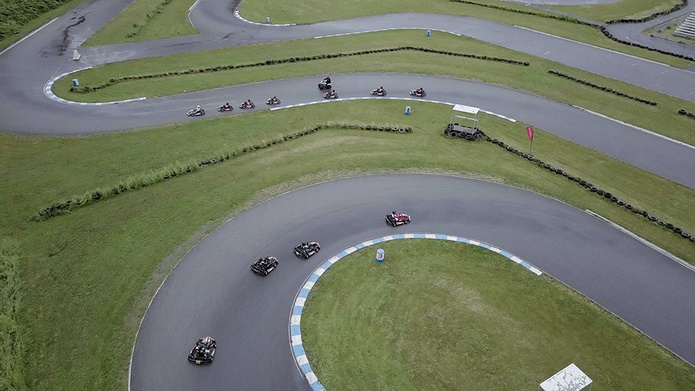An aerial view of the race track at kartSTART 2018