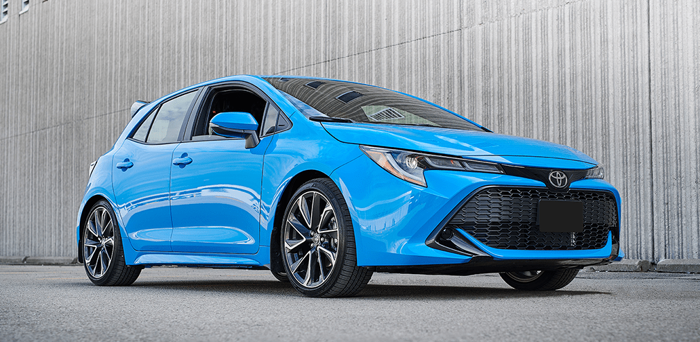 The all-new 2019 Toyota Corolla Hatchback in Blue Flame