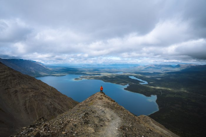 Sights of the lakes in the Yukon on the road trip
