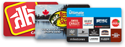 Reward cards for Home Hardware, Bass Pro Shops and Cara Foods
