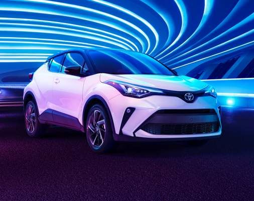 C-HR front shown in Blizzard Pearl with Black Roof