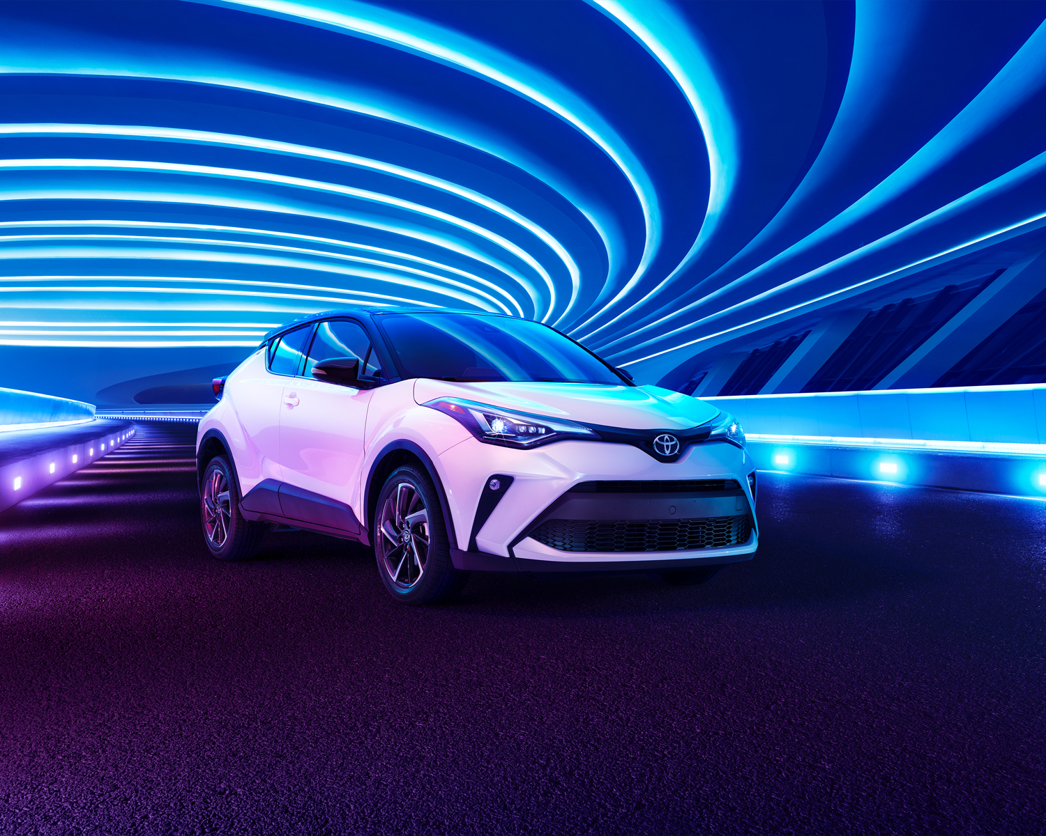 C-HR shown in Blizzard Pearl with Black Roof