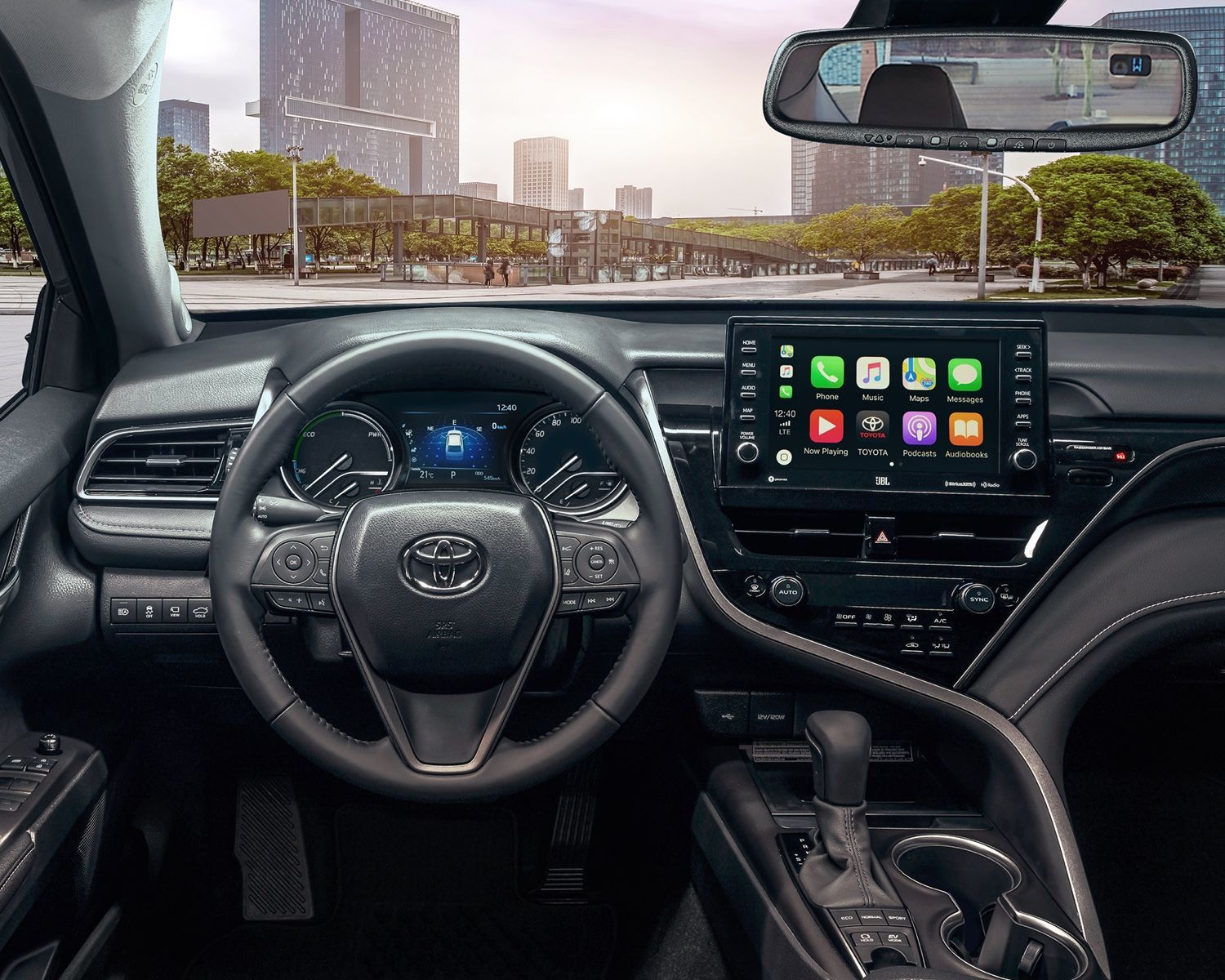 Camry Hybrid XSE shown with Black Sports Leather Interior