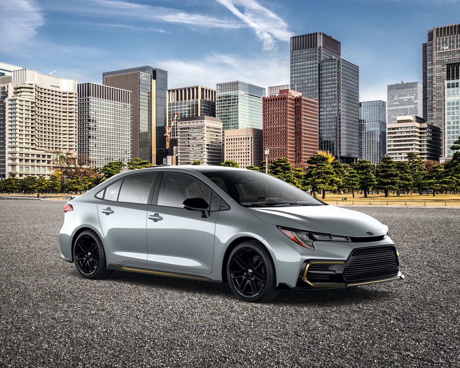 2021 Corolla special edition with city in the backgrounf