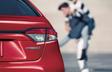 Corolle hybride montrées en Rouge barcelone métallisé
