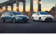 Corolla XSE shown in Celestite and Corolla Hybrid shown in Super White