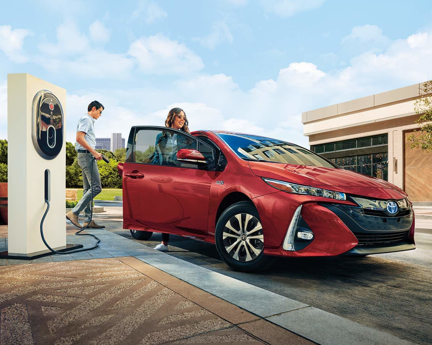 Prius Prime Technology in Supersonic Red Charging