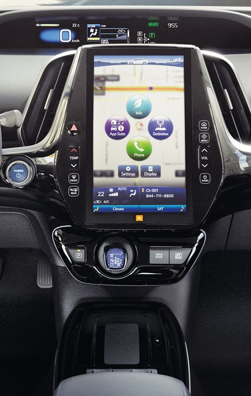 Prius Technology AWD-e dash shown in Black SofTex