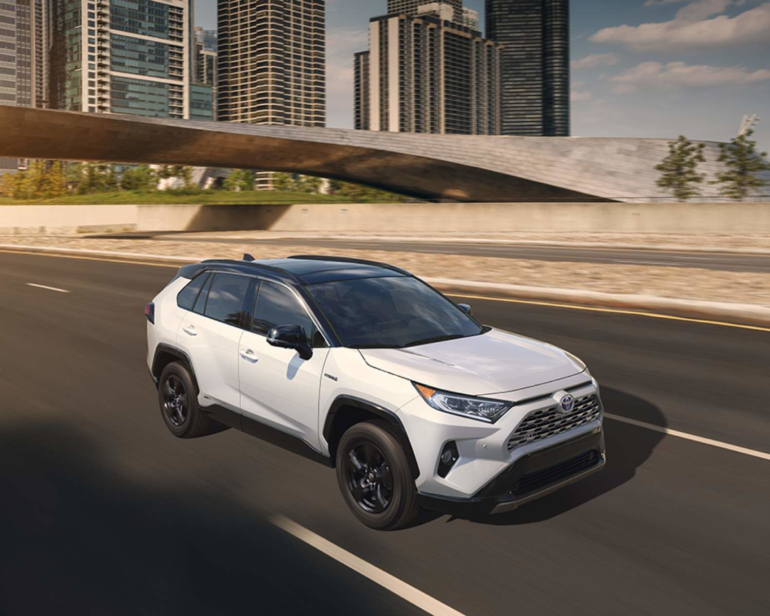 RAV4 Hybrid XSE shown in Blizzard Pearl with Black Roof