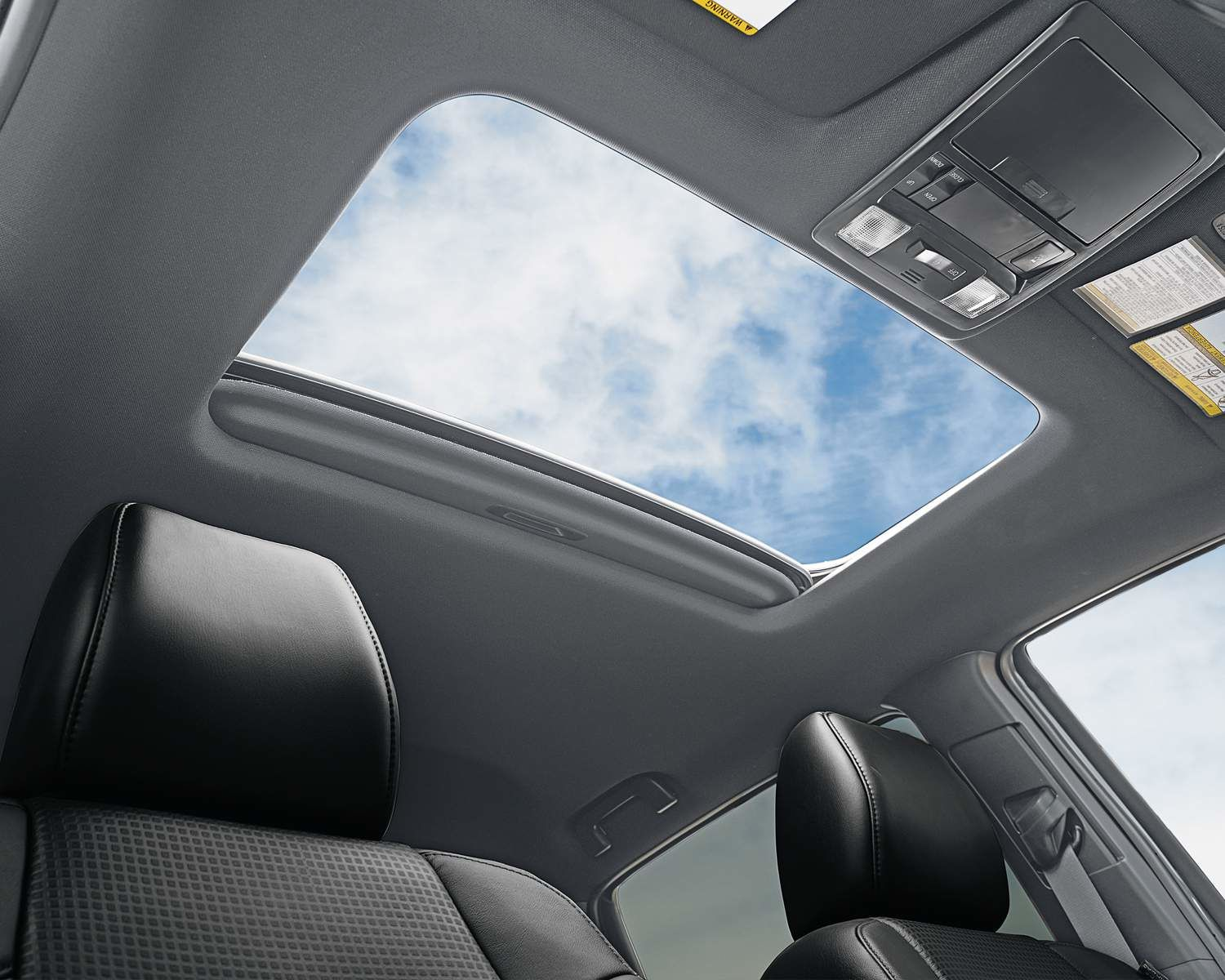 Tacoma Double Cab Nightshade interior with Power Moonroof shown in Black Leather