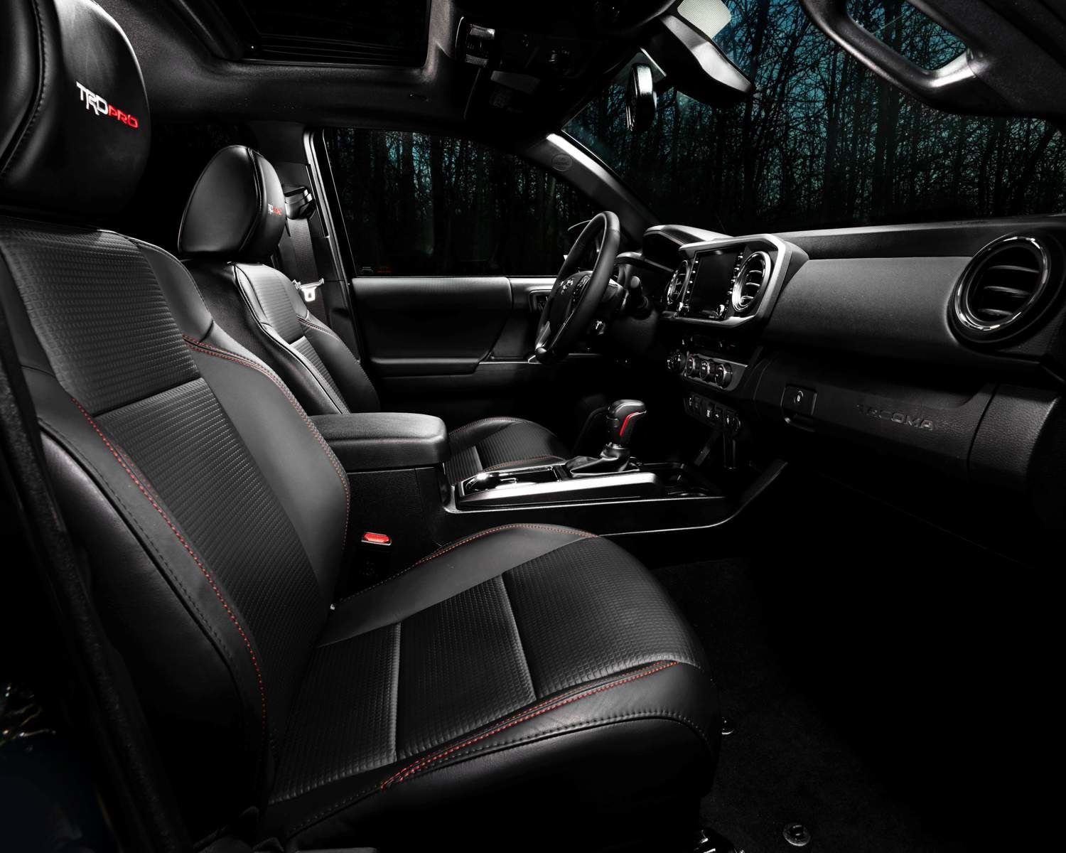Tacoma TRD Pro Interior shown in Black Leather