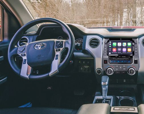 Tundra CrewMax SR5 with TRD Sport Package shown with Black Cloth Interior