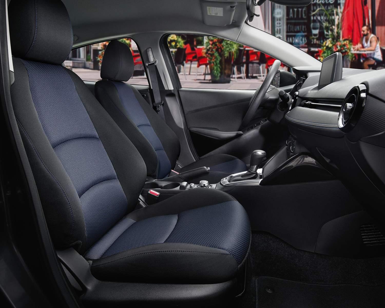 Yaris Sedan Premium Interior shown in Black/Blue Cloth