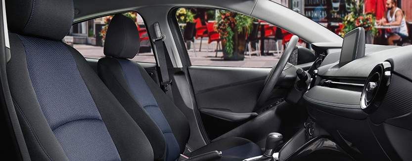 Yaris Sedan Premium Interior shown in Black/Blue Cloth