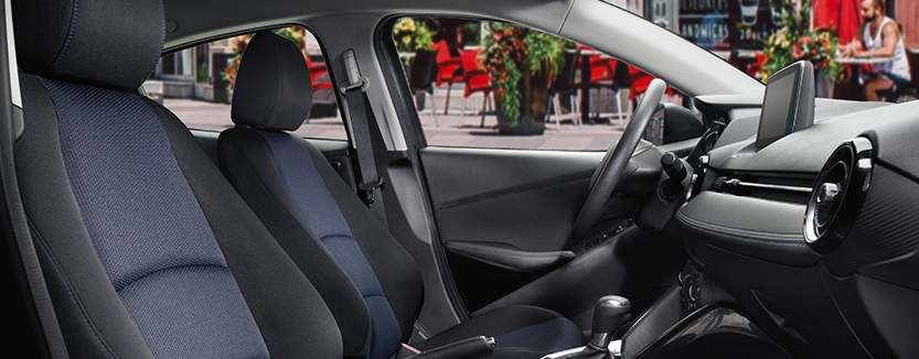Yaris Sedan Interior shown in Black/Blue Cloth