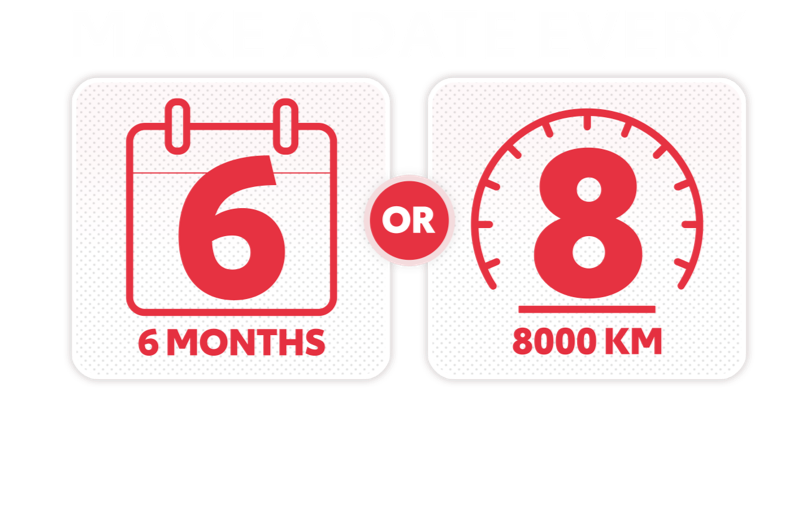 Make a date every 8000km