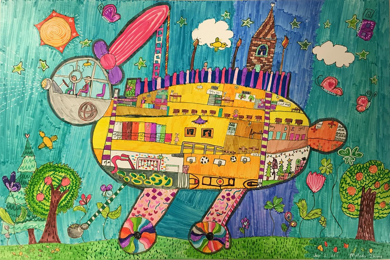 La voiture-lapin école de Melody (Melody, 7 ans)