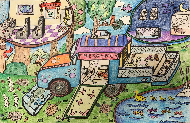 L'ambulance pour animaux (Sara, 10 ans)