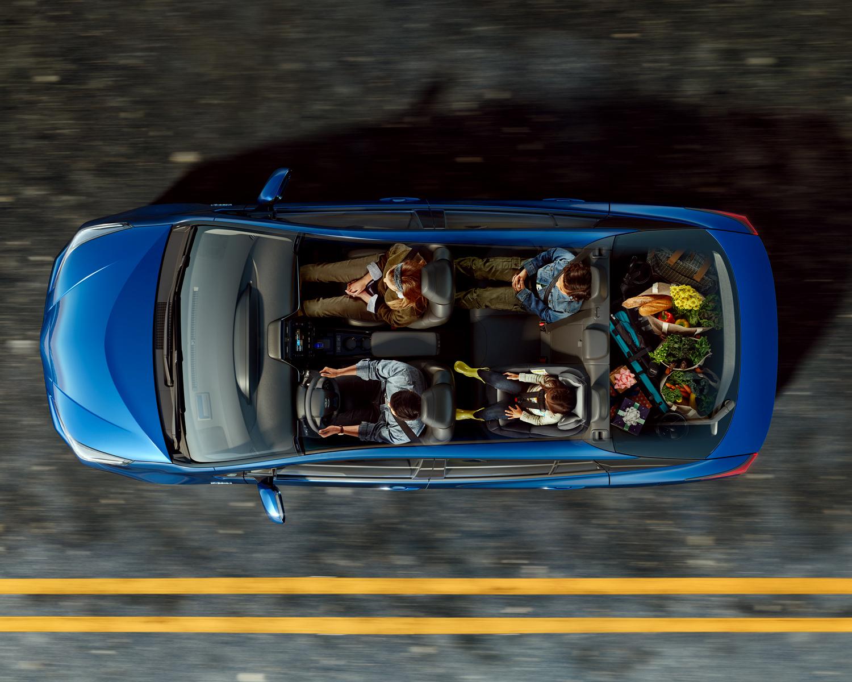 Sièges et compartiment de charge de la Prius
