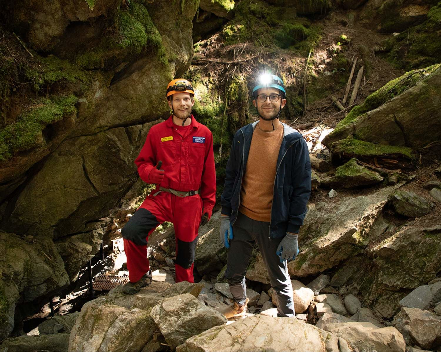 Michael and Myles Fuller at Horne Lake Caves