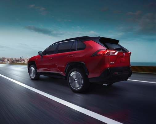 RAV4 Prime XSE shown in Supersonic Red with Black Roof