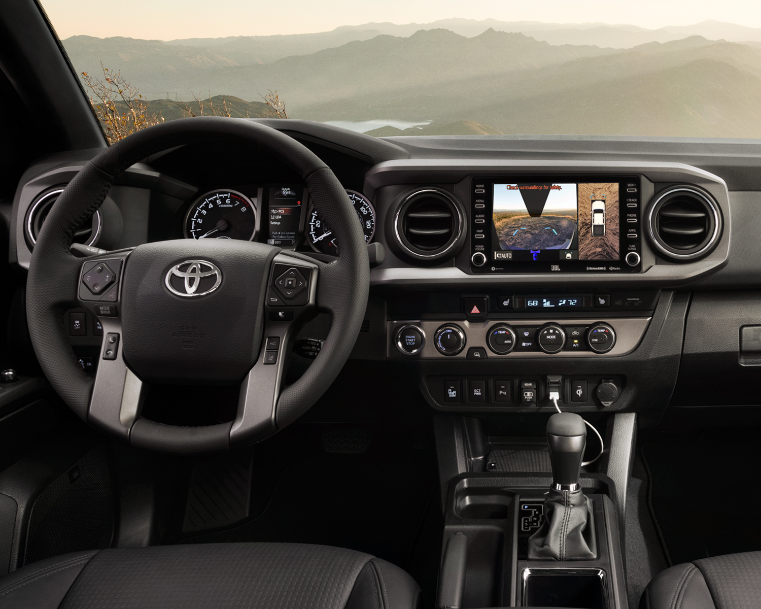 Tacoma TRD Off Road Interior shown in Black Leather