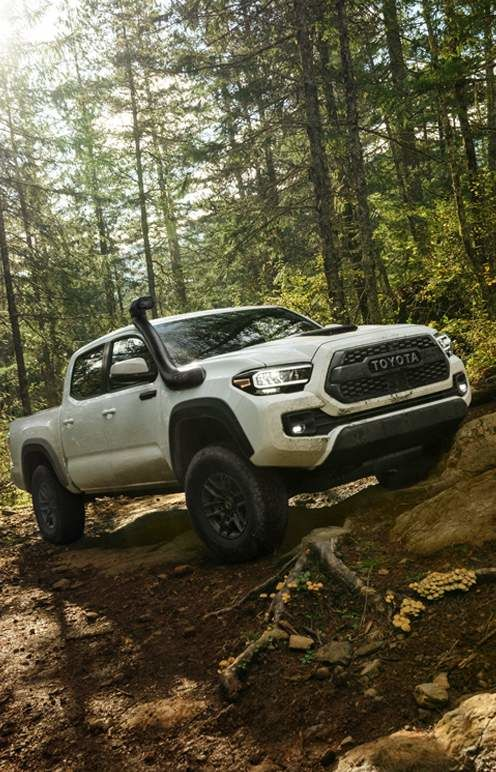2020 Tacoma Double Cab TRD Pro with Desert Intake shown in Super White