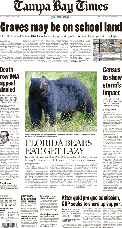 Front page of the Saturday, October 19, 2019 Tampa Bay Times