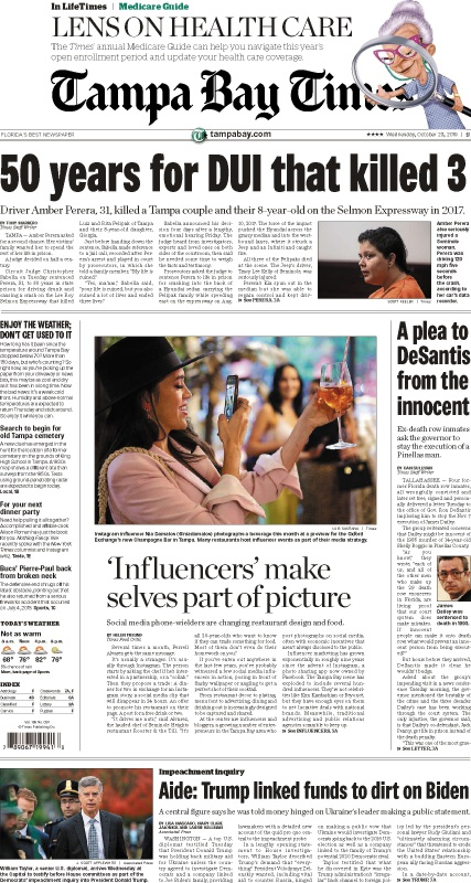 Front page of the Wednesday, October 23, 2019 Tampa Bay Times