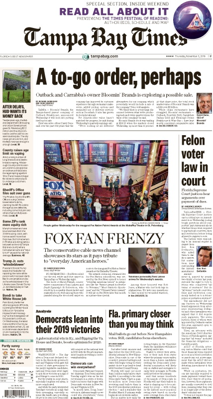 Front page of the Thursday, November 7, 2019 Tampa Bay Times