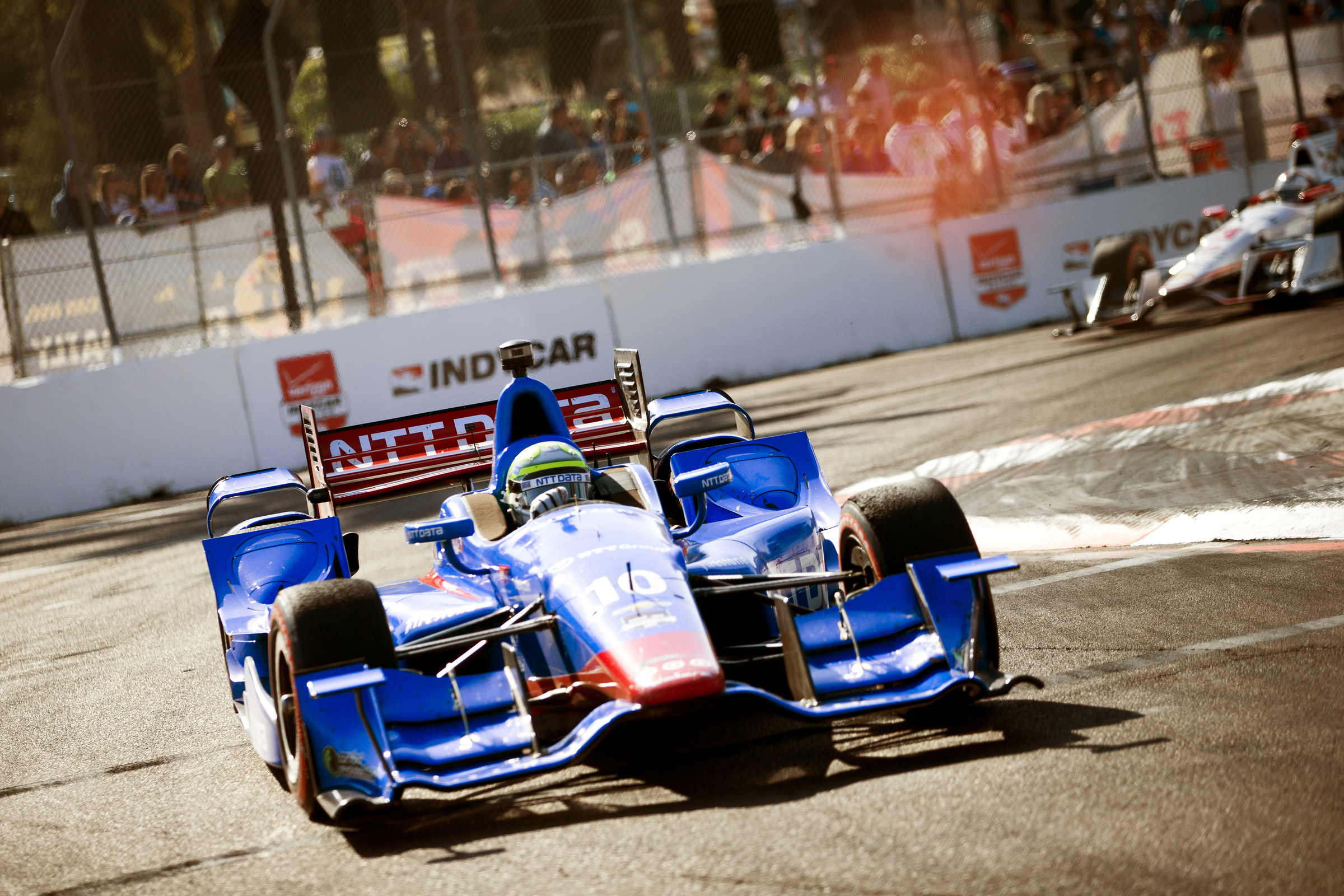 ST. PETERSBURG, FL - March 29, 2015 -- IndyCar driver Tony Kanaan participates in the St. Pete Grand Prix in downtown St. Petersburg, Florida. (PHOTO / CHIP LITHERLAND)