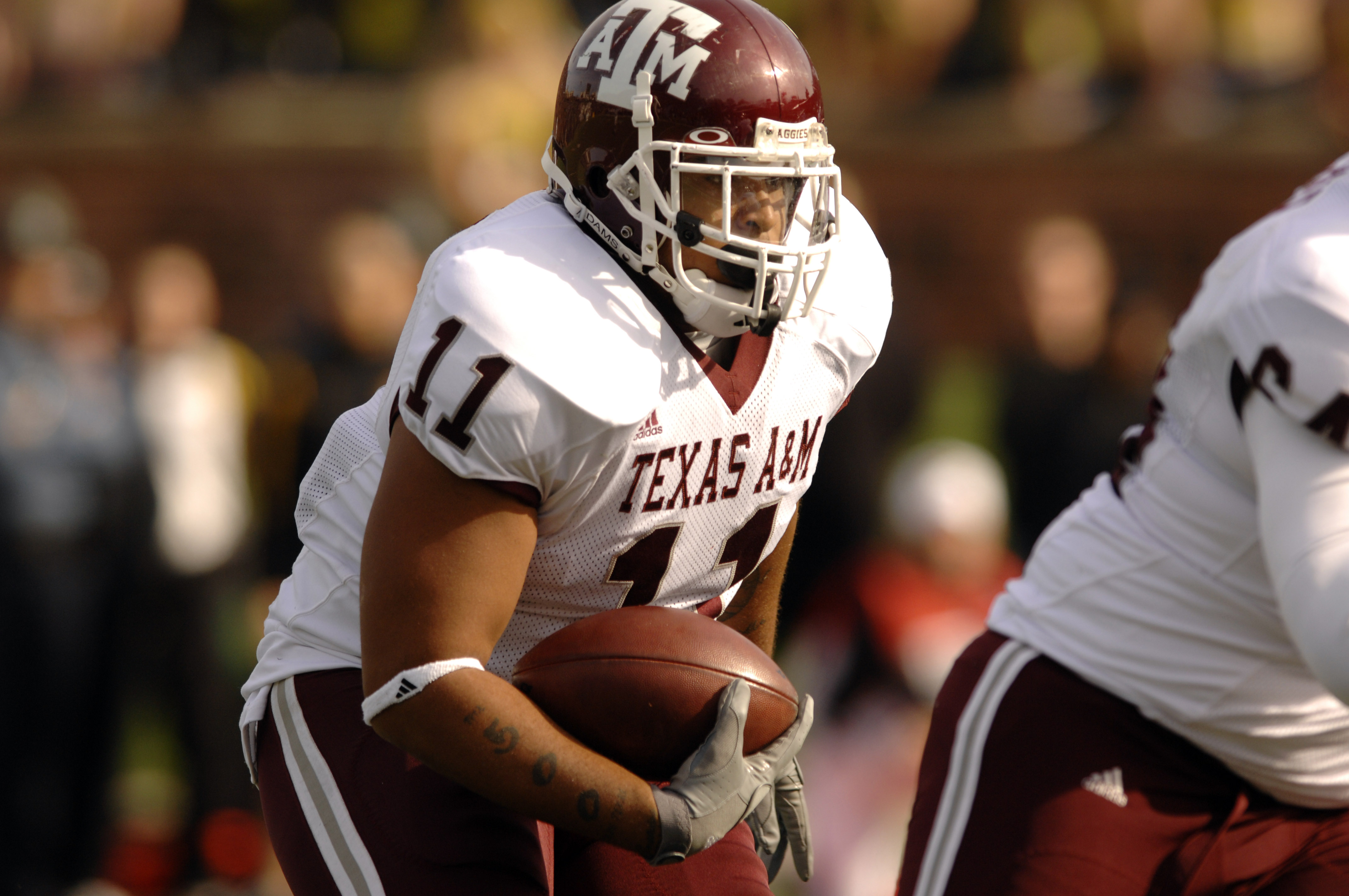 Texas A&M running back Jorvorskie Lane runs with the ball during a college football game against Missouri Saturday, Nov. 10, 2007, in Columbia, Mo. Missouri won the game, 40-26. (AP Photo/L.G. Patterson)