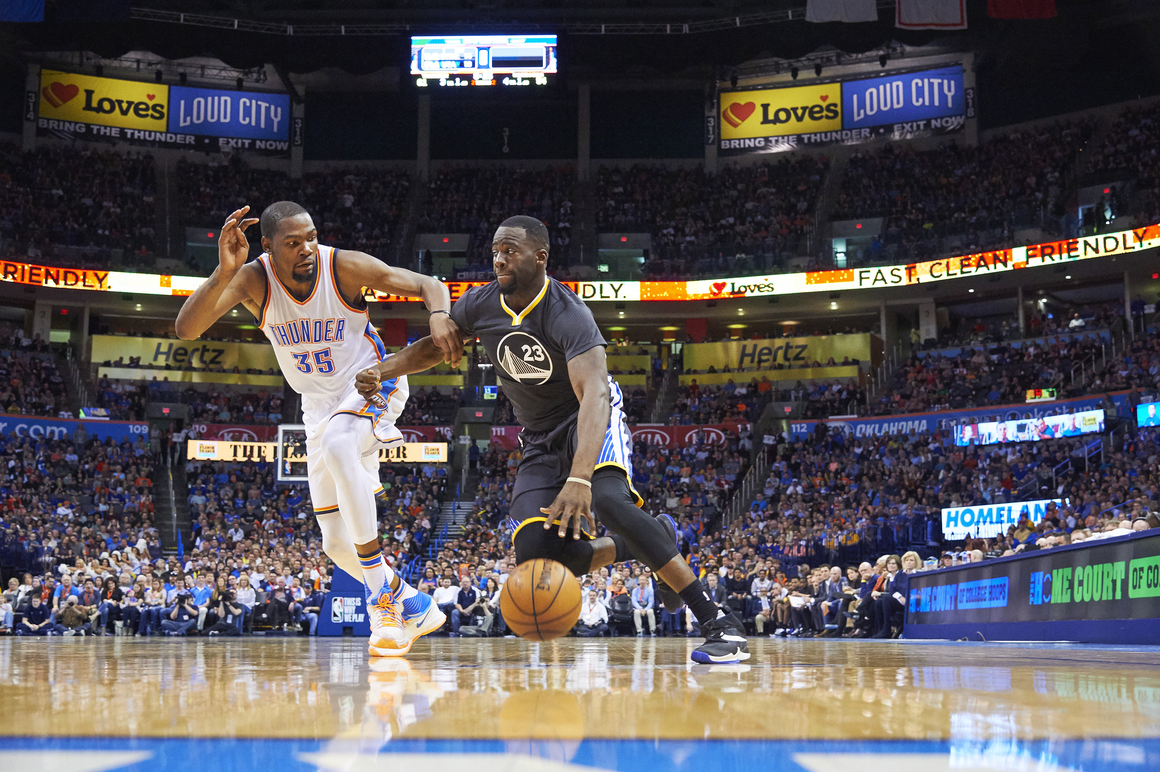 Basketball: Golden State Warriors Draymond Green (23) in action vs Oklahoma City Thunder Kevin Durant (35) at Chesapeake Energy Arena. Oklahoma City, OK 2/27/2016 CREDIT: Greg Nelson (Photo by Greg Nelson /Sports Illustrated/Getty Images) (Set Number: SI-216 TK1 )