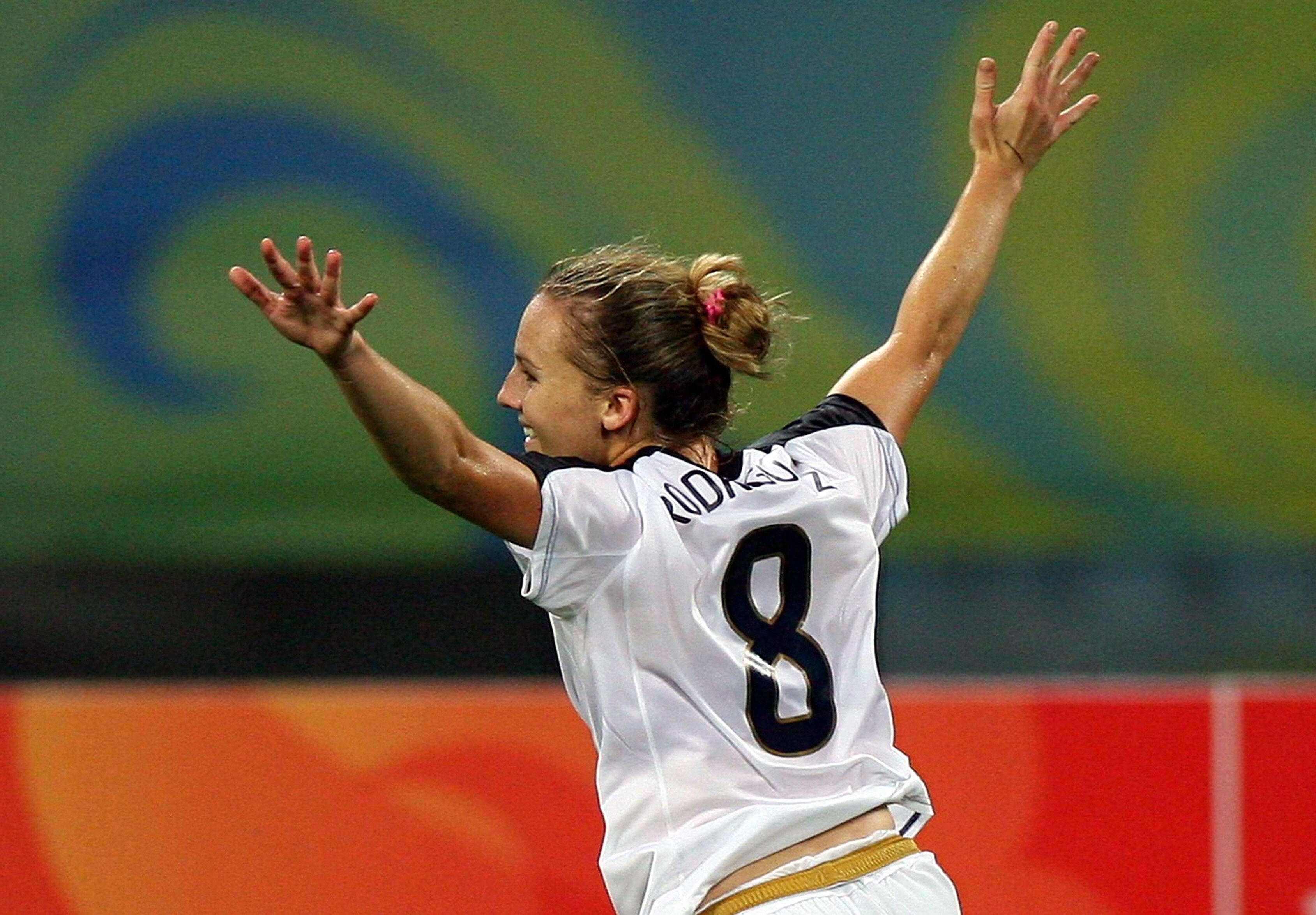 Amy Rodriguez of the US celebrates after