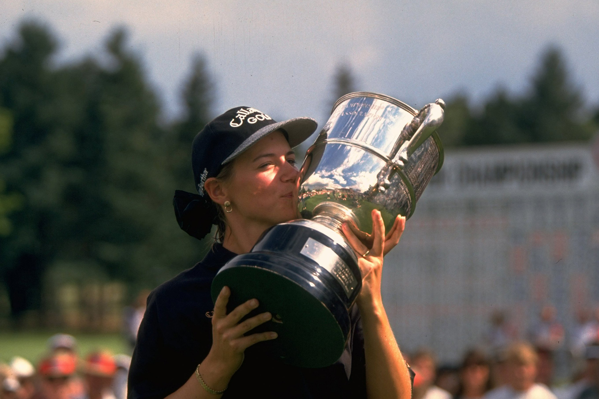 Golf: US Women's Open: Annika Sorenstam victorious with trophy after tournament at The Broadmoor GC. Colorado Springs, CO 7/16/1995 CREDIT: Jim Gund (Photo by Jim Gund /Sports Illustrated/Getty Images) (Set Number: X48701 )